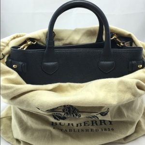Burberry Medium Banner House Black Leather Tote